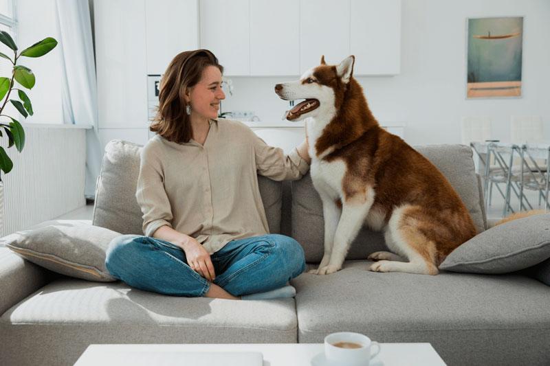 Chica con su perro en el departamento